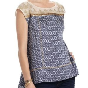 Anthro Floreat Gold Stream Embroidered Sequin Top